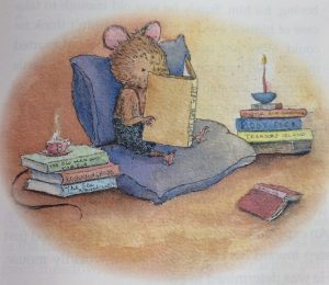 Bertie the mouse reading a book