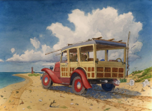 Old woody station wagon traveling to Monomoy