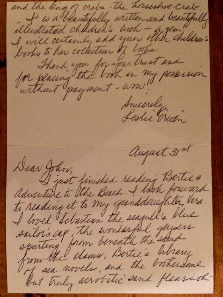 Photo of handwritten note with praise for the book
